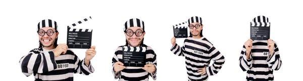 Śmieszny więźniarski więzień z film deską odizolowywającą na bielu Zdjęcia Royalty Free