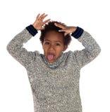 Śmieszny wyrażenie mały afrykański dziecko zdjęcia royalty free