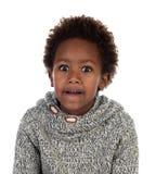 Śmieszny wyrażenie mały afrykański dziecko obraz stock