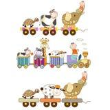 Śmieszny zabawka pociągu set ilustracji