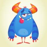 Śmieszny zadowolony błękitny kreskówka potwór Błękitny wektorowy błyszczki lub obcego charakter z zadowolonym wyrażeniem Obrazy Stock