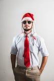 Śmiesznych bożych narodzeń biznesowy mężczyzna zdjęcia stock