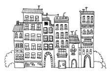 Śmiesznych domów nakreślenia ilustracja Fotografia Stock