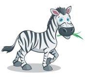 Śmiesznych kreskówka stylu zebry Dużych oczu Wektorowa ilustracja Odizolowywająca na bielu Obrazy Royalty Free