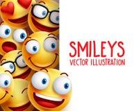 Śmiesznych smiley twarzy wektorowych charakterów szczęśliwy ono uśmiecha się w tle ilustracja wektor