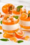 Śmietankowy panny cotta z pomarańcze galaretą w pięknych szkłach, świeża dojrzała mandarynka na białym drewnianym tle, Wyśmienici obrazy stock