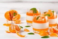 Śmietankowy panny cotta z pomarańcze galaretą w pięknych szkłach, świeża dojrzała mandarynka na białym drewnianym tle, Wyśmienici zdjęcie royalty free