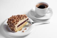 Śmietankowy tort i kawa fotografia stock