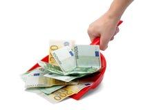 śmietniczki ręki pieniądze Zdjęcia Stock