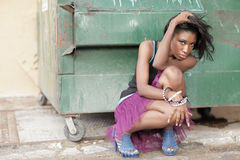 śmietnik kobieta zdjęcie stock