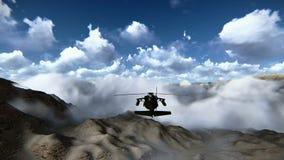 Śmigłowcowy latanie nad góra materiałem filmowym ilustracja wektor