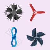 Śmigłowego fan fan śmigła wiatru nawiewnika wyposażenia powietrza ikony dmuchawy wektorowego ilustracyjnego cooler obracania usta Zdjęcia Royalty Free