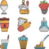 Śniadanie barwione płaskie ikony inkasowe ilustracji