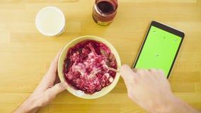 Śniadanie i chroma kluczowa pastylka zdjęcie wideo