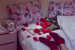 Śniadanie w łóżku z czerwonymi różami Zdjęcie Royalty Free