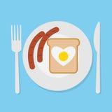 Śniadanie z kiełbasą, jajko, chleb Zdjęcie Royalty Free