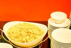 Śniadanie z kukurydzanymi płatkami Zdjęcie Stock