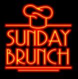 Śniadanio-lunch Neonowy znak ilustracja wektor