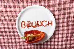 Śniadanio-lunch pieprzu kształt na talerzu Fotografia Stock