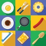 Śniadaniowa ikona Ustawiająca z świeżą żywnością w Płaskim projekcie Zdjęcia Stock