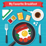 Śniadaniowa ilustracja z świeżą żywnością w Płaskim projekcie Zdjęcia Stock