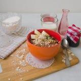 Śniadaniowa oatmeal owsianka z bananami, ziarnami, dokrętkami i mlekiem, Fotografia Royalty Free