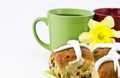 śniadaniowe przerw babeczki krzyżują gorący dwa zdjęcia stock
