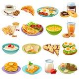 Śniadaniowego śniadanio-lunch menu Karmowe ikony Ustawiać royalty ilustracja