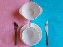 Śniadaniowego czasu projekta pojęcia minimalny pastelowy kolor Fotografia Stock