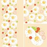 Śniadaniowi jajka ustawiający bezszwowy wzór i granicy Zdjęcie Stock