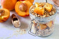 Śniadaniowi owsy z brzoskwiniami i granola w słoju na marmurze obraz stock