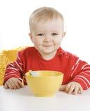 śniadaniowy chłopiec łasowanie fotografia stock