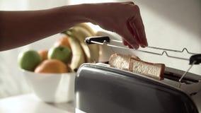Śniadaniowy kobiety kładzenia przecinania chleb w opiekacza zbliżeniu zbiory wideo