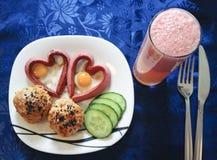 śniadaniowy masła kochanków grzanki valentine fotografia stock