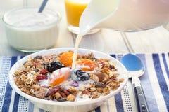 Śniadaniowy uwypukla muesli i suszący - owoc Zdjęcie Royalty Free