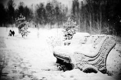 Śnieżna ławka Fotografia Royalty Free
