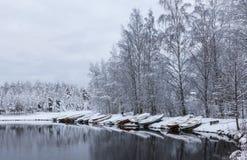 Śnieżna łodzi plaża Fotografia Royalty Free