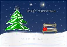Śnieżna boże narodzenie noc, prezent na ławce i ilustracji