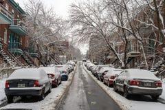 Śnieżna burza uderza Montreal, Kanada obraz royalty free