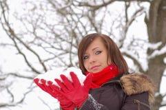 śnieżna chwyt kobieta Zdjęcia Stock