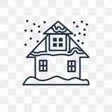 Śnieżna Domowa wektorowa ikona odizolowywająca na przejrzystym tle, linia ilustracji