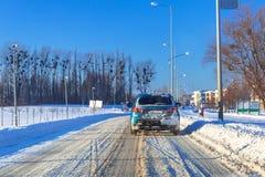 Śnieżna droga po zima opadu śniegu Obraz Royalty Free