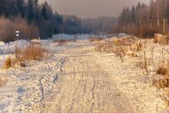Śnieżna droga przy sunrise_4 Zdjęcie Stock