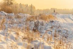 Śnieżna droga przy wschodem słońca Obraz Royalty Free