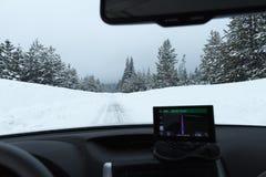 Śnieżna droga z lodowatymi warunkami Zdjęcie Royalty Free