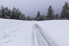 Śnieżna droga z lodowatymi warunkami Obrazy Stock