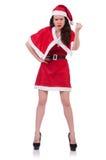 Śnieżna dziewczyna Santa w bożego narodzenia pojęciu odizolowywającym Zdjęcie Royalty Free
