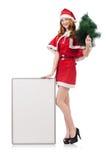 Śnieżna dziewczyna z jedlinowym drzewem Zdjęcia Royalty Free