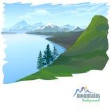 Śnieżna góra i Błękitne Wody jezioro Fotografia Royalty Free