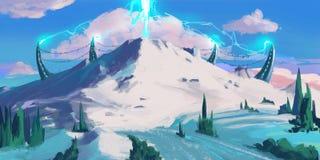 Śnieżna góra Sci Fi temat SpitPaint Pojęcie sztuka royalty ilustracja